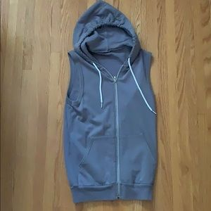 Sleeveless Light Gray American Apparel Hoodie (XS)